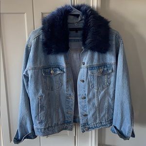 English Factory Jean Jacket with Faux Fur Collar